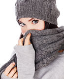 Woman with hat and scarf Stock Images
