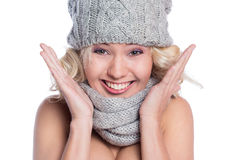 Woman in a hat and scarf Royalty Free Stock Photos