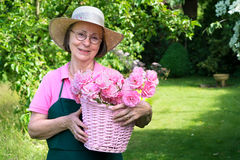 Woman in hat smiling while holding basket of roses. Stock Photos
