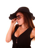 Woman  in hat and sunglasses Royalty Free Stock Photos
