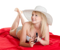 Woman with hat and sunglasses. Happy young blond woman with hat and sunglasses stock photos