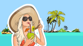 Woman Hat Sunglasses Drink Coconut Cocktail Beach Tropical Island Stock Photo