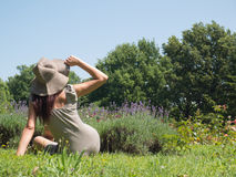 Woman in hat. Woman and sunshine with lavandula Royalty Free Stock Images