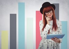 Woman in hat with tablet against colourful graphs against white wall. Digital composite of Woman in hat with tablet against colourful graphs against white wall Stock Images