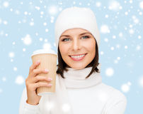 Woman in hat with takeaway tea or coffee cup Royalty Free Stock Photos