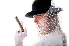 Woman in hat with vail, ring and cigar Royalty Free Stock Photos