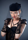 Woman in hat and veil and underwear Royalty Free Stock Photography