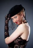 Woman in hat with veil and underwear Royalty Free Stock Photos