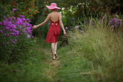 Woman in a hat walks among the flowers Stock Photography