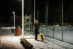 Woman walks at night with the dog on a leash lit by the light of Stock Photography