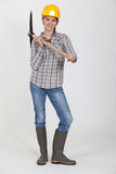 Woman with hatchet Stock Photos