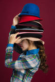 Woman and hats. Hat is an indispensable part of the woman dress Royalty Free Stock Photography