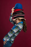 Woman and hats. Hat is an indispensable part of the woman dress Stock Photos