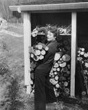 Woman hauling firewood Stock Image