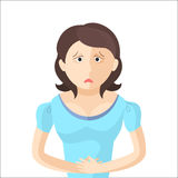 Woman have an abdominal pain. Character in Flat style. Vector illustration Stock Images