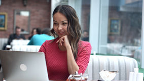 Woman have business meeting via video call in a cafe Royalty Free Stock Photos
