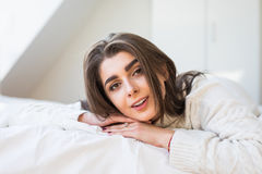 Woman have fine on her bedroom Stock Photos