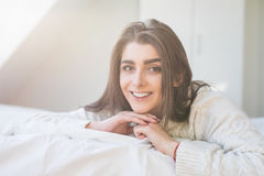 Woman have fine on her bedroom Royalty Free Stock Photography