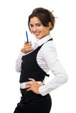 Woman have fun at work Stock Photo
