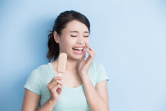 Woman have sensitive teeth Royalty Free Stock Images