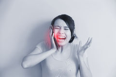 Woman have toothache Royalty Free Stock Images