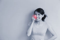 Woman have toothache Stock Image