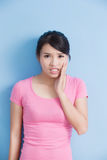 Woman have toothache Stock Photo