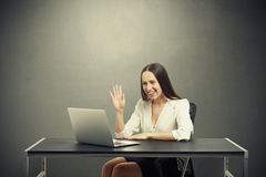 Woman have video chat Royalty Free Stock Photography