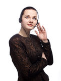 Woman have a work on call center. Beautiful customer of service business Royalty Free Stock Photos