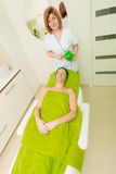 Woman having algae mud mask on face Royalty Free Stock Image