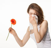Woman having allergy from spring flowers Stock Images