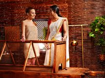 Woman having Ayurveda sauna. Royalty Free Stock Image