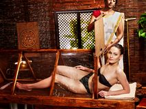 Woman having Ayurveda sauna. Stock Image