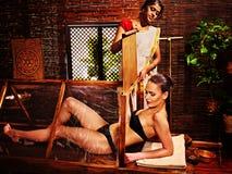 Woman having Ayurveda sauna. Stock Photo