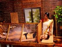 Woman having Ayurveda sauna Stock Images
