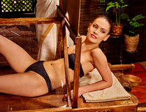 Woman having Ayurveda sauna Stock Image
