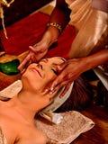 Woman having ayurveda spa treatment Royalty Free Stock Images