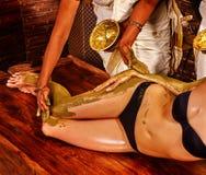 Woman having Ayurvedic feet spa massage Royalty Free Stock Images