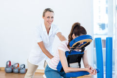Woman having back massage. In medical office Royalty Free Stock Photo