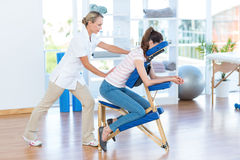 Woman having back massage. In medical office Stock Photo