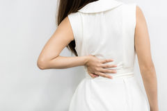 Woman having back pain from work Stock Photos
