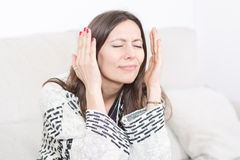 Woman having a bad headache Royalty Free Stock Photos