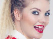 Woman having beautiful make up stock images