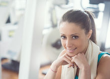 Woman having a break at gym Royalty Free Stock Photography