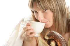 Woman having breakfast Stock Photo