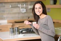 woman having breakfast Royalty Free Stock Photo