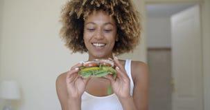 Woman Having Breakfast In Bed stock footage