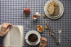 Woman having breakfast, her hands and a book Stock Photography