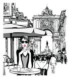 Woman having breakfast in the street of Lisbon. Vector illustration vector illustration