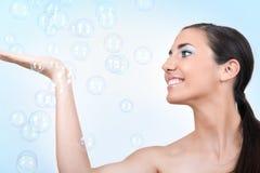 Woman  having a bubble bath Royalty Free Stock Photography